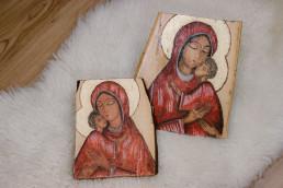 Ikona ręcznie malowana - Maryja z Dzieciątkiem