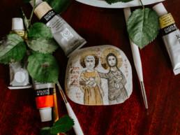 Ikona na kamieniu - Jezus z Przyjacielem